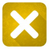 cancel flat icon, gold christmas button, x sign