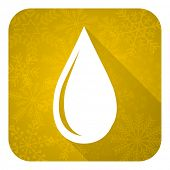 water drop flat icon, gold christmas button