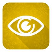 eye flat icon, gold christmas button, view sign