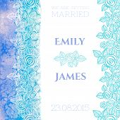 Wedding invitation or greeting card with abstract roses and watercolor background
