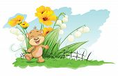 Illustration cheerful bear with lilies and flowers