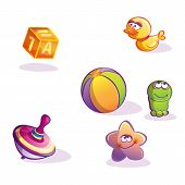 Illustration of collection fun cartoon vector toys