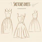 Sketches dress hand drawn illustration.