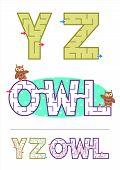 Alphabet maze games Y, Z and word maze OWL