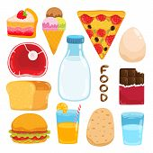 vector cartoon  food illustration set