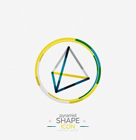 stock photo of triangular pyramids  - Pyramid shape line design - JPG