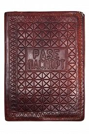 stock photo of passport cover  - leather vintage passport cover on white background - JPG