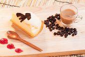 image of custard  - cheese custard cake and cup of coffee on wood - JPG