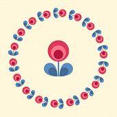 image of scandinavian  - Scandinavian folk style flower in round floral ornamented frame - JPG