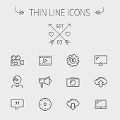 Technology thin line icon set for web and mobile. Set includes - laptop, monitor,video camera, megap poster
