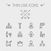 picture of line graph  - Business thin line icon set for web and mobile - JPG
