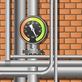 stock photo of manometer  - Pipes and manometer in a boiler room - JPG