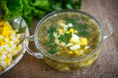 picture of sorrel  - green soup with eggs and sorrel in a plate