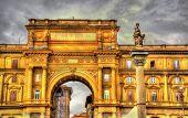 foto of abundance  - The arch and the Column of Abundance on Piazza della Repubblica square in Florence - JPG