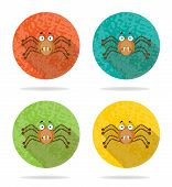 stock photo of mandible  - Group of four orange icons with brown spider - JPG
