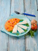stock photo of cod  - steamed cod with capsicum cream - JPG