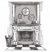 stock photo of cozy hearth  - Hand drawn fireplace - JPG