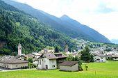 stock photo of municipal  - Along the route of the Bernina Railway is the Poschiavo - JPG