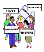 pic of mentoring  - Cartoon of businesspeople holding signs that define the qualities and characteristics of a mentor - JPG
