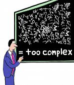 stock photo of formulas  - Cartoon of businessman at a blackboard with complicated formulas - JPG