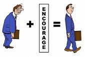 foto of encouraging  - Cartoon of the positive impact of encouragement on the businessman - JPG