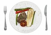 stock photo of plating  - Plate with beef and assorted vegetables on plate - JPG