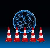 pic of cone  - 5 Traffic cones and bubble - JPG