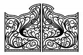 picture of gates heaven  - Beautiful black iron graphic antique ornament gates - JPG