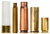 picture of cartridge  - Set of empty bullet cartridges isolated on white background - JPG
