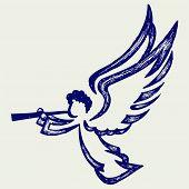 foto of angel-trumpet  - Angel with trumpet - JPG