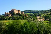 picture of chateau  - View of the hilltop castle of Chateau de Berze in Burgundy France - JPG