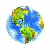 pic of earth  - Globe Earth painted watercolor - JPG
