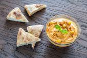 pic of pita  - A Bowl Of Hummus With Pita Slices - JPG