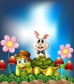 stock photo of hare  - Tortoise and hare smiling in the flower field - JPG