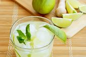 picture of sugar  - Caipirinha cocktail with limes white rum sugar and ice - JPG