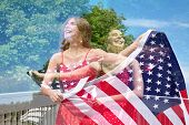 pic of patriot  - Abstract creative double exposure of photos of patriotic woman waving the American Flag for July 4th - JPG