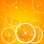 stock photo of orange-juice  - orange juice with orange slices and bubbles - JPG