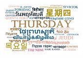 stock photo of thursday  - Background concept wordcloud multilanguage international many language illustration of Thursday day - JPG