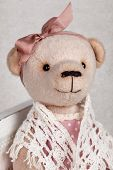 picture of teddy  - portrait of old fashioned teddy bear handmade - JPG