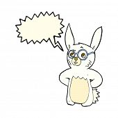 foto of spectacles  - cartoon rabbit wearing spectacles with speech bubble - JPG
