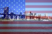 picture of brooklyn bridge  - brooklyn bridge and lower manhattan skyline with american flag montage - JPG