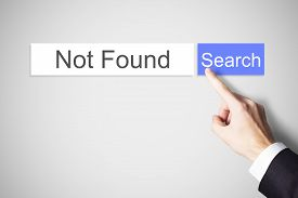 stock photo of not found  - finger pushing blue search button not found internet - JPG