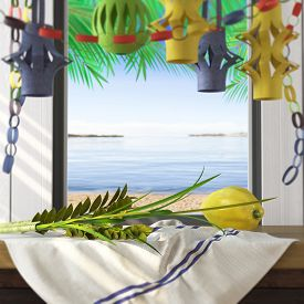 picture of sukkot  - Symbols of the Jewish holiday Sukkot with palm leaves and sea beach - JPG