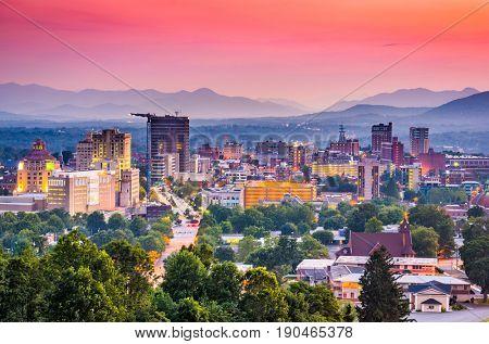 poster of Asheville, North Carolina, USA at twilight.