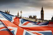 union jack flag and big ben in the background, London, UK - general elections, London, UK poster