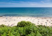 british seaside - summer holiday destination - top view of people on the beach in Bournemouth, Dorse poster