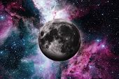 Earths Moon. Outer Space Background. poster