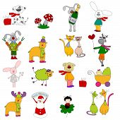 Set of cartoons characters