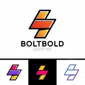 Electrical Logo Concept. Lightning Bolt Minimal Simple Symbol Outline Style. Flash Sign Design Vecto poster