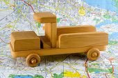 Wooden Toy Truck On Road Map poster